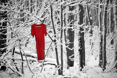 Red Dress in Winter